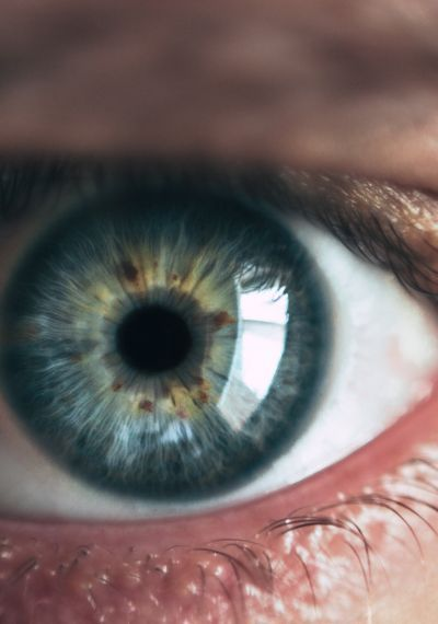 Nachaufnahme eines Auges mit blauer Iris.